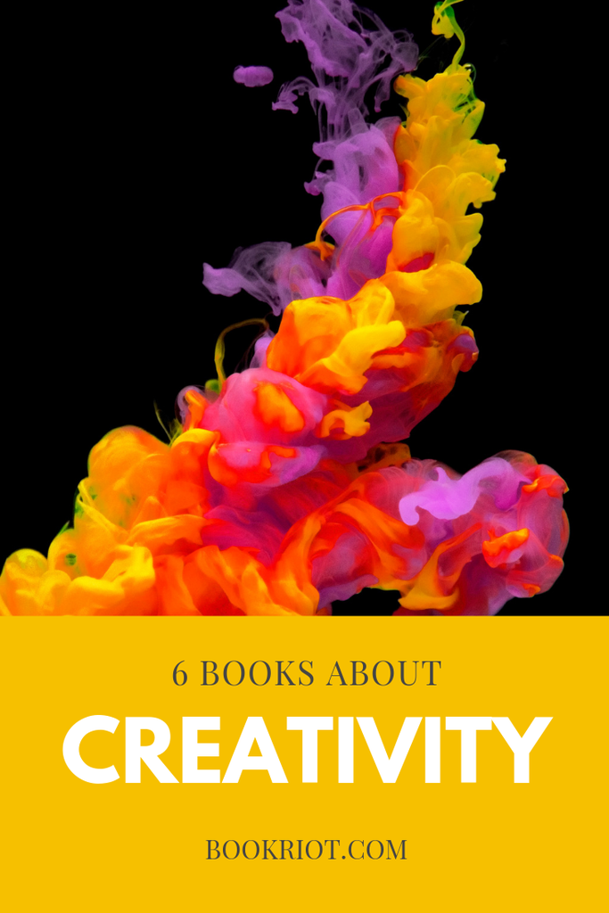 "The text ""Six books about creativity"" with colorful smoke in front of a black background."