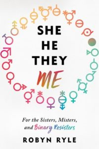 She/He/They/Me book cover - various gender symbols