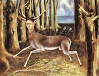 The Wounded Deer by Frida Kahlo. A painting of a deer pierced with arrows. The deer has Frida's head.