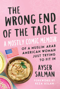 The Wrong End of the Table cover - pink with hummus and U.S. flag
