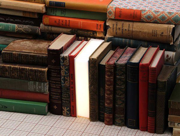 book lamp on a shelf