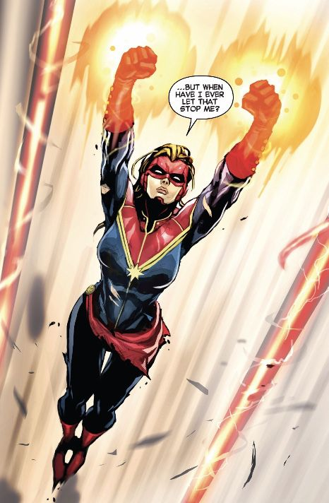 """Captain Marvel flying """"but when have I ever let that stop me?"""""""