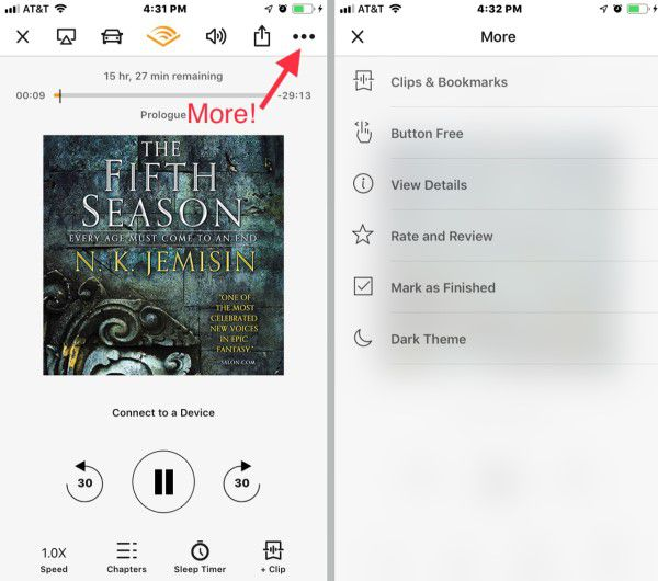 Screenshot demonstrating how to listen to audiobooks on iphone using Audible