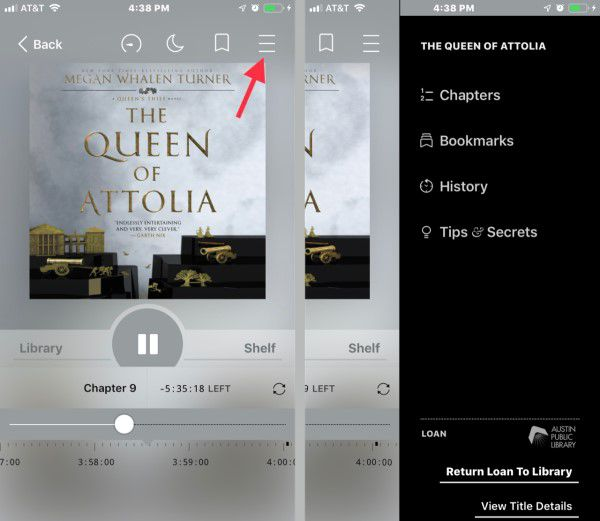 Screenshot demonstrating how to listen to audiobooks on iphone using Libby