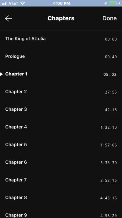 Screenshot demonstrating chapter track listings on iphone using Libby