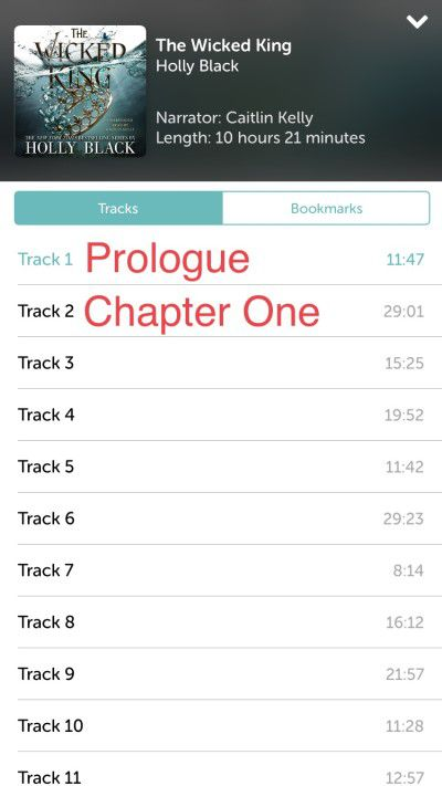 Screenshot demonstrating chapter track listings on iphone using Libro.fm
