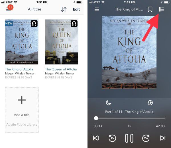 Screenshot demonstrating how to listen to audiobooks on iphone using Overdrive