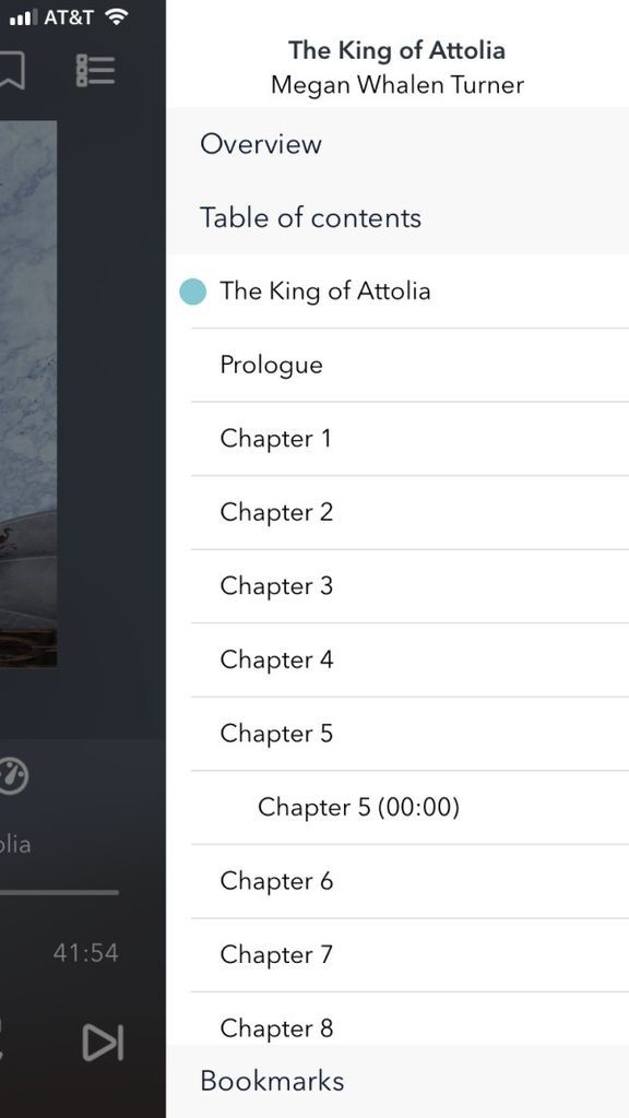 Screenshot demonstrating chapter title listings on iphone using Overdrive
