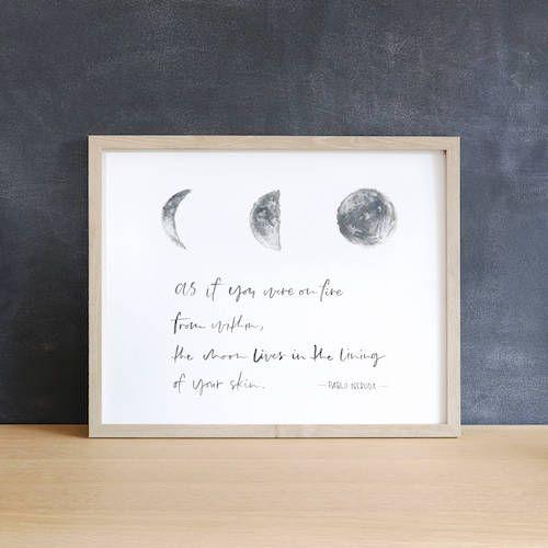 Pablo Neruda poetry quote print