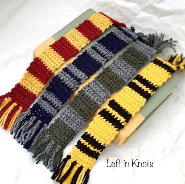 Crochet Hogwarts House Scarves from Left In Stitches