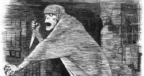 The 'Nemesis of Neglect'- Jack the Ripper depicted as a phantom stalking Whitechapel, and as an embodiment of social neglect, in a Punch cartoon of 1888 feature