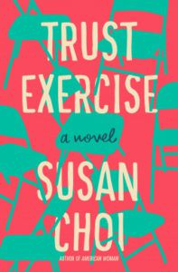 Trust Exercise cover - blue folding chairs on pink background