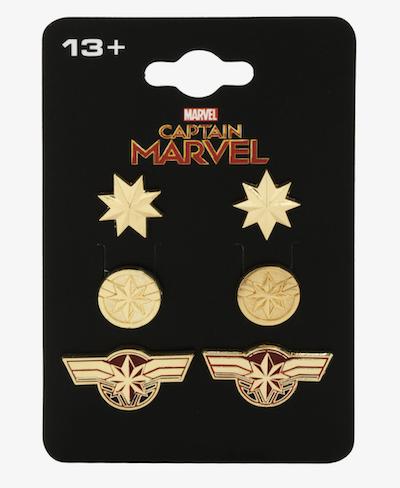 Captain Marvel 3 earrings set from Box Lunch