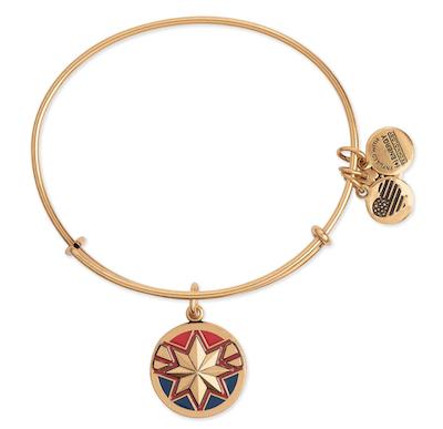 bangle bracelet with Captain Marvel symbol in gold