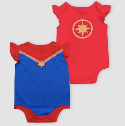 Captain Marvel baby onesies