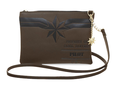 Brown Carol Danvers pilot crossbody bag purse