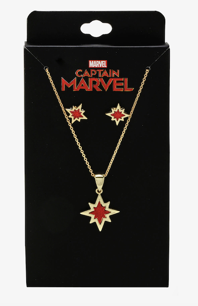 Captain Marvel star earring and necklace set