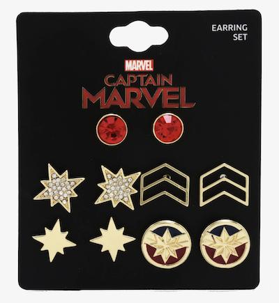Captain Marvel earring set of 5