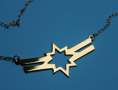Gold Captain Marvel symbol necklace