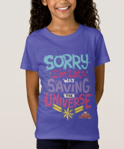 """Kids """"Sorry I was late I was busy saving the universe"""" purple captain marvel shirt"""
