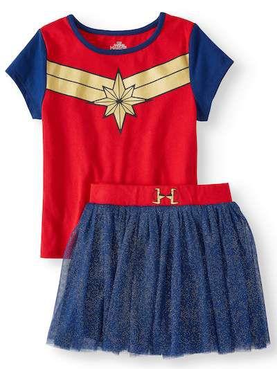 Kids captain marvel skirt and top