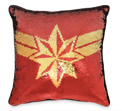 Captain Marvel sequin pillow