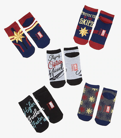 Captain Marvel Merchandise 5 pairs of socks from Hot Topic