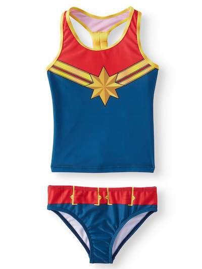 Kids Captain marvel tankini swuimsuit