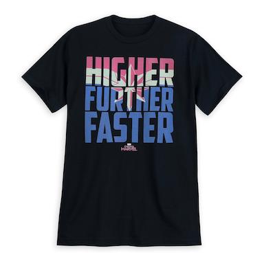 Captain Marvel Merchandise Higher Further Faster tshirt
