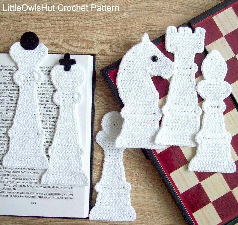 Crocheted chess bookmarks by Little Owl's Hut