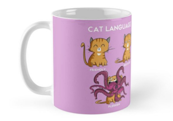 Cat Language Mug from Captain Marvel Goose Goodies You Need in Your Life | bookriot.com