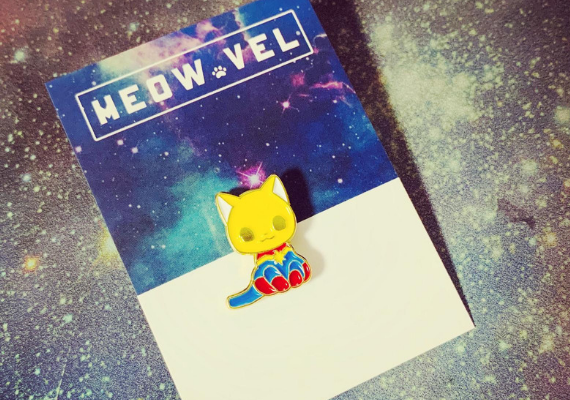 Meow Vel Pin from Captain Marvel Goose Goodies You Need in Your Life | bookriot.com