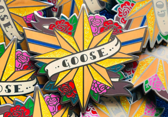 Goose Star Enamel Pin from Captain Marvel Goose Goodies You Need in Your Life | bookriot.com