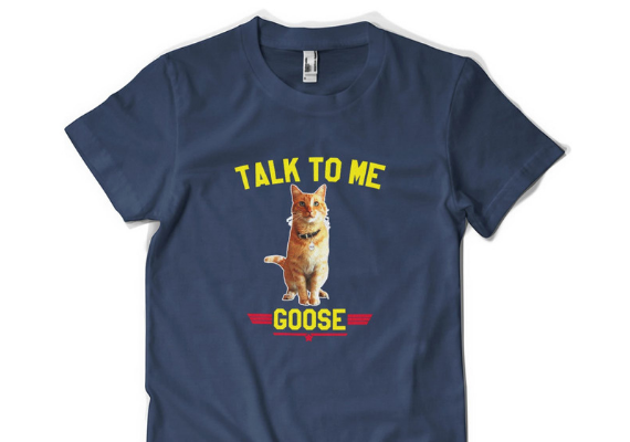 Talk to me Goose Tee from Captain Marvel Goose Goodies You Need in Your Life | bookriot.com