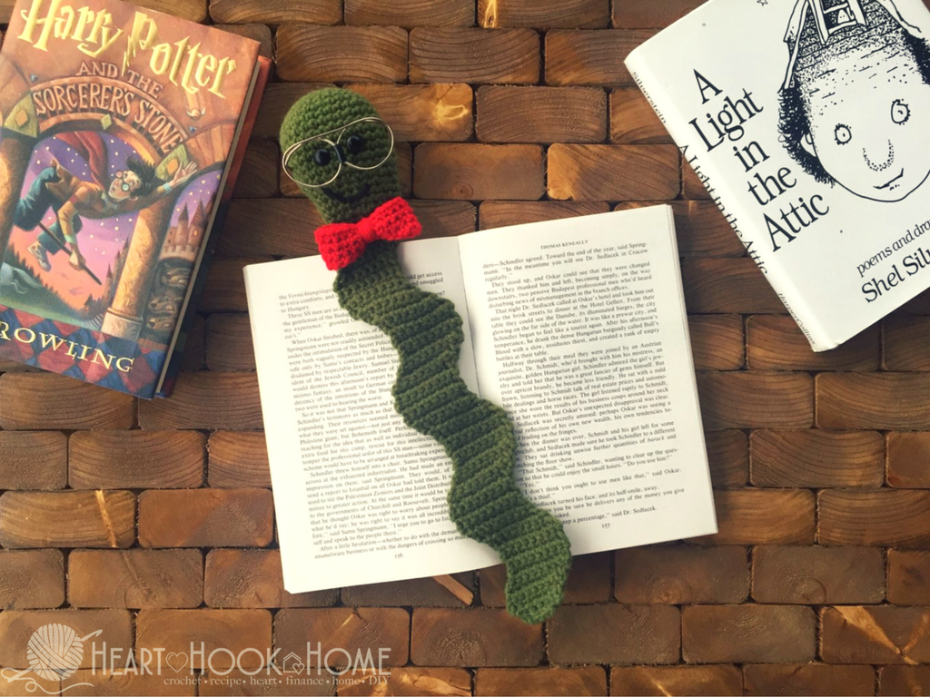 Crochet pattern for the nerdy bookworm bookmark from Heart, Hook, Home
