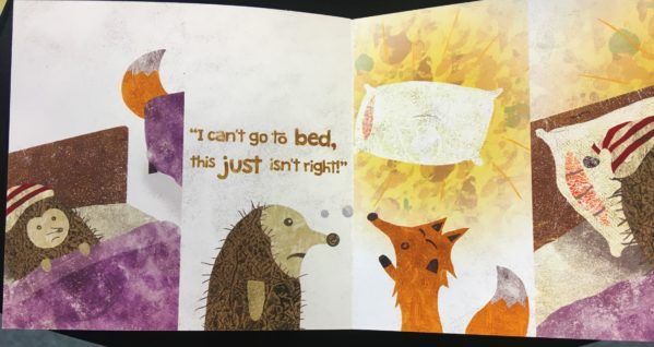 "A fox and a hedgehog look worried, with images of beds and pillows and the text ""I can't go to bed, this just isn't right!"""