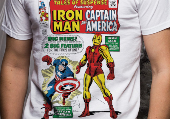Iron Man and Captain America from Marvel Tees To Show Off Your Love for Avengers: Endgame | bookriot.com