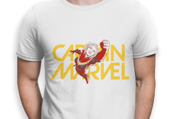 Captain Marvel Comic Shirt from Marvel Tees To Show Off Your Love for Avengers: Endgame | bookriot.com