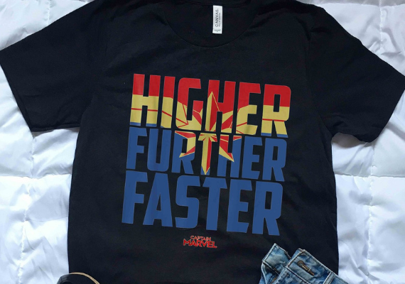 Higher Further Faster Shirt from Marvel Tees To Show Off Your Love for Avengers: Endgame | bookriot.com
