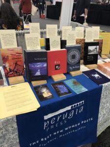 Perugia Press table at AWP 2019 Book Fair