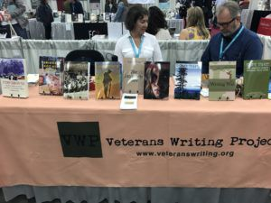 Veterans Writing Project table at AWP 2019 Book Fair