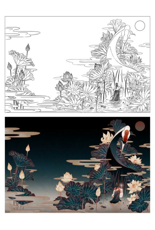 Illustration and full cover art of Descendant of the Crane