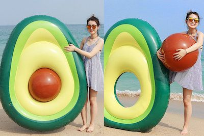 Image of beach float in the shape of an avocado.