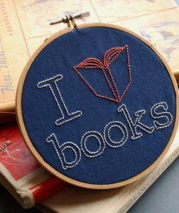 I Heart Books Embroidery Pattern