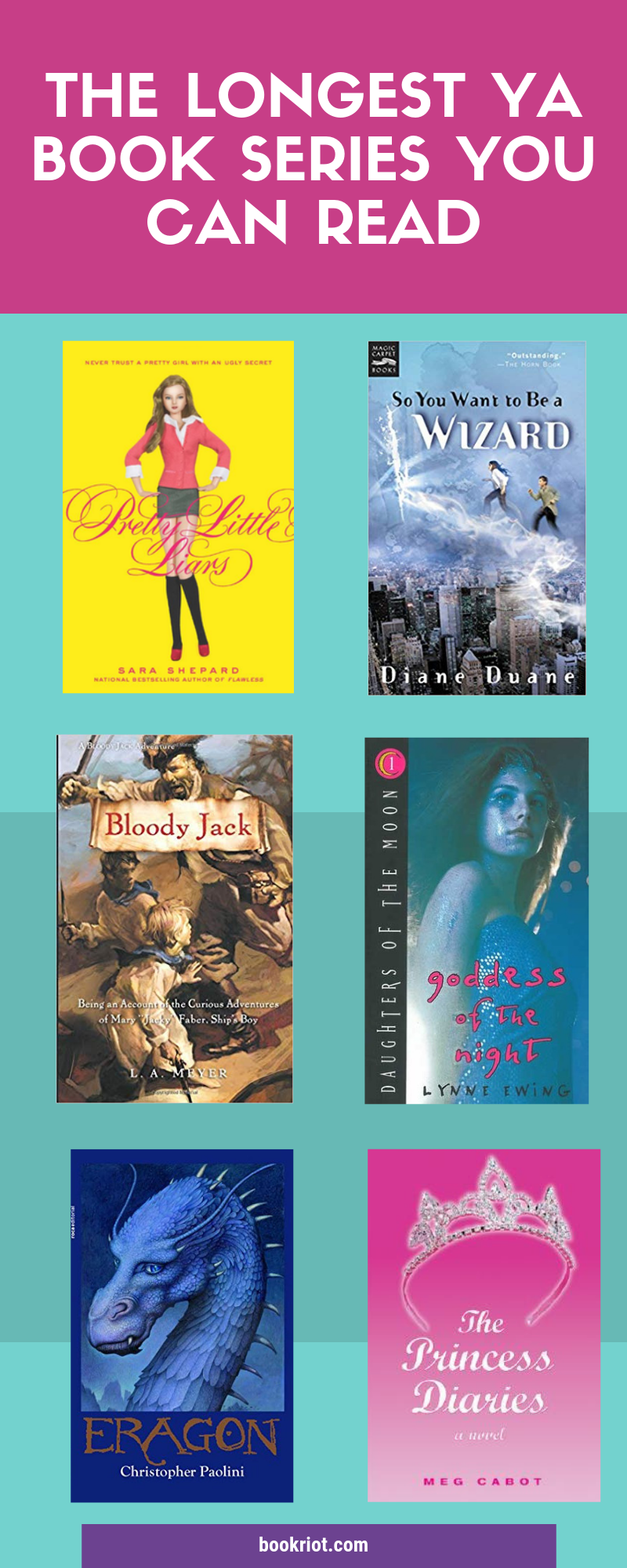 The longest YA book series you can read, both by number of volumes in the series and by number of pages in the series. book lists | YA books | YA book lists | Longest YA books | Longest YA book series | book series | long book series | long ya book series | #YALit | #YABoooks