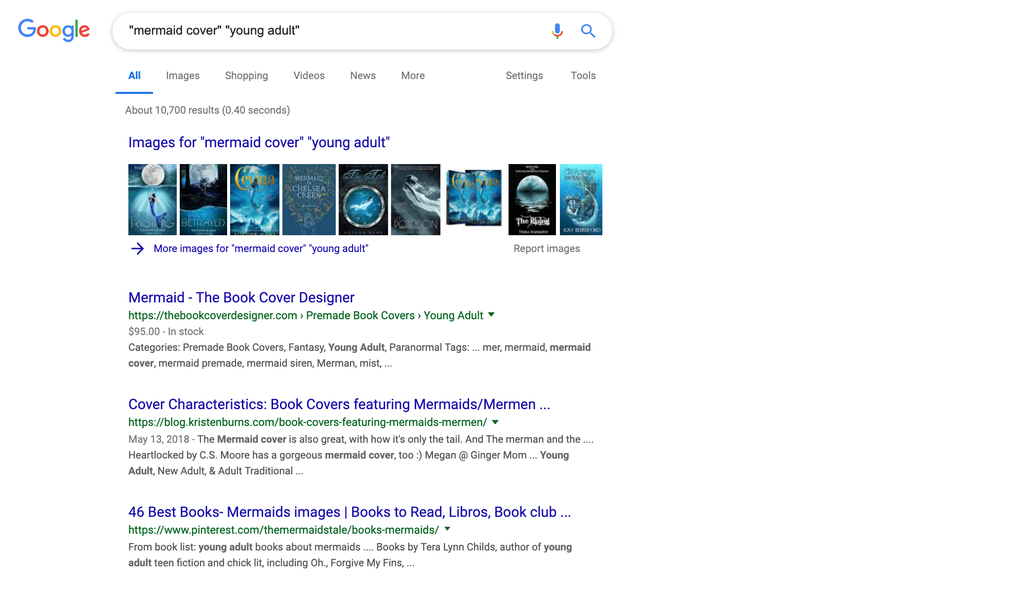 "Google search of terms ""mermaid cover"" and ""young adult"" in quotes"