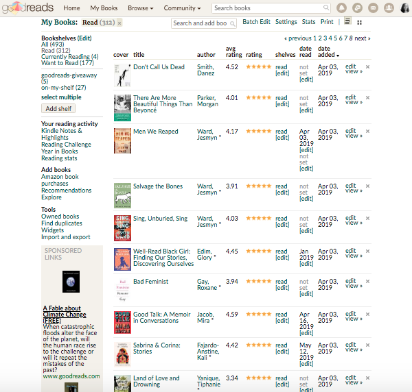 Five-star ratings of read books on Goodreads