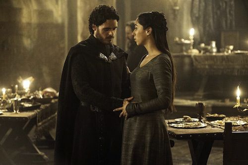 Richard Madden and Oona Chaplin as Robb and Talisa Stark on Game of Thrones