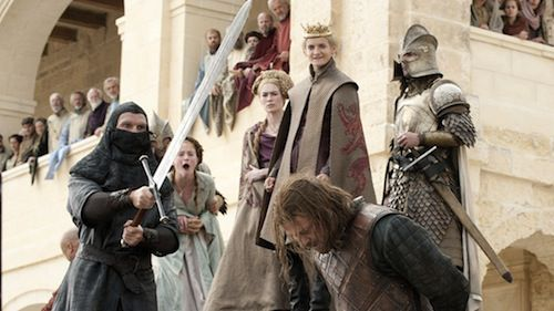 Sean Bean, Lena Headey, Jack Gleeson, and Sophie Turner in Game of Thrones