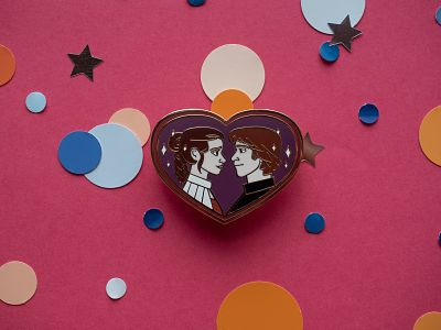 Han Solo and Princess Leia heart-shaped enamel pin